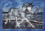 The Horse Digital Art Metal Prints - Full Moon Splendor Metal Print by Betsy A Cutler East Coast Barrier Islands