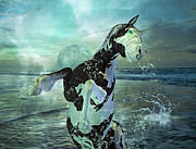 Wild Horse Mixed Media Prints - Full Moon Twist and Shout Print by Betsy A Cutler East Coast Barrier Islands