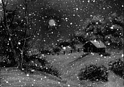 Winter Scene Digital Art Prints - Full Moon Winter Night Print by Barbara Griffin