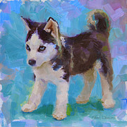 Husky Dog Paintings - Full Of It - Alaskan Husky Sled Dog Puppy by Karen Whitworth