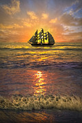 Ocean Scenes Prints - Full Sail Print by Debra and Dave Vanderlaan