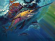 Sailfish Painting Framed Prints - Full Sail Framed Print by Mike Savlen