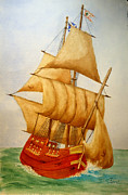 Wooden Ship Painting Framed Prints - Full Sails Framed Print by Sandra Stone