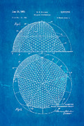 Fuller Geodesic Dome Patent Art 1954 Blueprint Print by Ian Monk