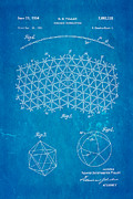 Fuller Geodesic Dome Patent Art 2 1954 Blueprint Print by Ian Monk