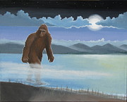 Surreal Landscape Painting Metal Prints - Fullmoon Squatch Metal Print by Stuart Swartz
