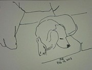 Sleeping Dog Drawings Posters - Fulmi sleeping Poster by Janet Butler