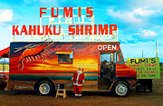 Lobster Sign Posters - Fumis Kahuku Shrimp Poster by Ron Regalado