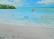 Caribbean Sea Paintings - Fun Day at the Beach by Kenneth Harris