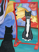 Distorted Painting Posters - Fun House Skinny Cat Poster by Karen Zuk Rosenblatt