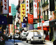 New York New York Com Digital Art Metal Prints - Fun in Chinatown Manhattan NYC Metal Print by Ted Guhl