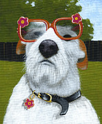 Puppies Originals - Fun In the Sun ... Dog with glasses painting by Amy Giacomelli