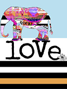 Juvenile Wall Decor Mixed Media Metal Prints - Fun Rock and Roll Elephant Metal Print by Anahi DeCanio