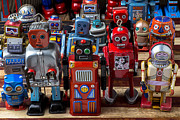 Rows Prints - Fun toy robots Print by Garry Gay