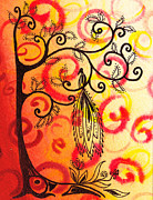 Brunch Painting Prints - Fun Tree Of Life Impression II Print by Irina Sztukowski