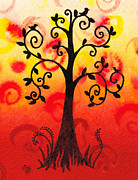 Brunch Painting Prints - Fun Tree Of Life Impression III Print by Irina Sztukowski