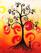 Brunch Painting Prints - Fun Tree Of Life Impression IV Print by Irina Sztukowski