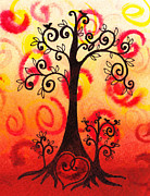 Abstract Heart Paintings - Fun Tree Of Life Impression VI by Irina Sztukowski