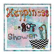 Quirky Painting Posters - Fun Whimsical Inspirational Word Art Happiness Quote by Megan and Aroon Poster by Megan and Aroon Duncanson