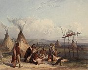 Western Western Art Prints - Funeral Scaffold of a Sioux Chief Print by Karl Bodmer