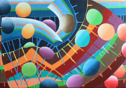 Drips Paintings - Funhouse by Tracy Roland