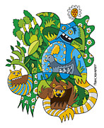 Ramspott Prints - Funky Animals Nature Doodle Print by Frank Ramspott