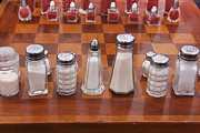 Chess Set Framed Prints - Funky Chess Set Framed Print by Art Blocks
