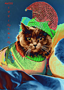 Kitty Cat Photo Prints - Funky Christmas Cat 2 Print by Joann Vitali