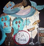 Drum Set Art Prints - Funky Fish Band Under the Sea Print by Eloise Schneider