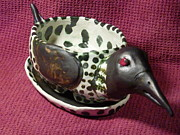Nature Ceramics Originals - FUNKY LOON PLANTER HANDBUILT IN USA from a lump of clay by Debbie Limoli