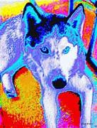 Funky Siberian Husky Print by Annie Zeno