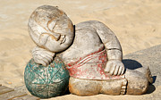 Resting Sculpture Metal Prints - funny Buddha Metal Print by Jolly Van der Velden