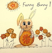 Rabbit Tapestries - Textiles Prints - Funny Bunny Print by Hazel Millington