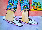 Walking Drawings Prints - Funny Bunny Slippers Print by Debi Pople