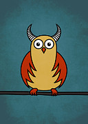 Boriana Giormova Prints - Funny Cartoon Horned Owl  Print by Boriana Giormova