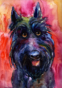 Scottie Painting Posters - Funny curious Scottish terrier dog portrait Poster by Svetlana Novikova