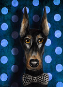 Custom Dog Portrait Posters - Funny Doberman Pincher gentleman dog portrait Poster by Svetlana Novikova