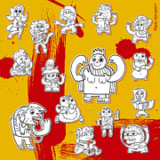 Funny Doodle Characters Urban Art Print by Frank Ramspott