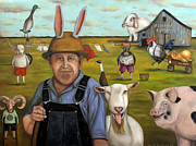 Farm Wagon Prints - Funny Farm edit 3 Print by Leah Saulnier The Painting Maniac