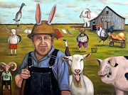 Farm Wagon Prints - Funny Farm Print by Leah Saulnier The Painting Maniac