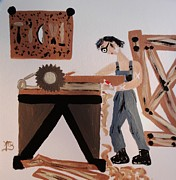 Bandages Paintings - Funny Professionals  Carpenter by Marie Bulger