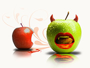 Sassan Filsoof Prints - Funny satirical digital Image of red and green apples Strange Fruit Print by Sassan Filsoof