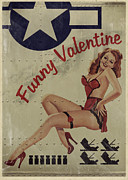 Warplane Prints - Funny Valentine Noseart Print by Cinema Photography