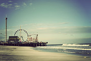 Wheel Photo Metal Prints - Funtown Pier Seaside Heights Vintage Metal Print by Terry DeLuco
