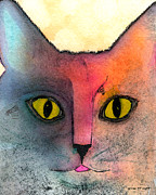 Cat And Moon Paintings - Fur Friends Series - Abby by Moon Stumpp