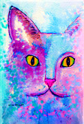 Cat Art Painting Prints - Fur Friends Series - Fitch Print by Moon Stumpp
