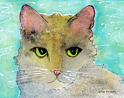 Cat And Moon Paintings - Fur Friends Series - Lir by Moon Stumpp