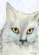 Cat And Moon Paintings - Fur Friends Series - Lizzy by Moon Stumpp