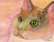 Watercolor Cat Paintings - Fur Friends Series - Muggs by Moon Stumpp