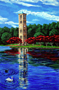 Bell Tower Paintings - Furman Tower by Andrew Wells